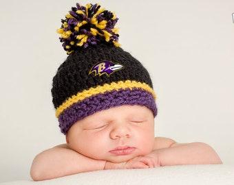 7d27848f0 Baltimore Ravens inspired baby hat