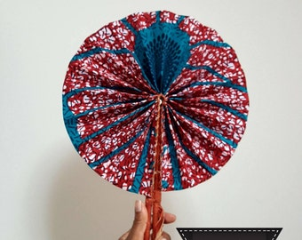 Ankara African Leather Fan - 2 Different Designs