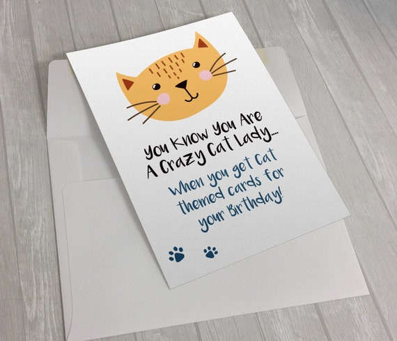 Crazy Cat Lady Birthday Card Blank Interior
