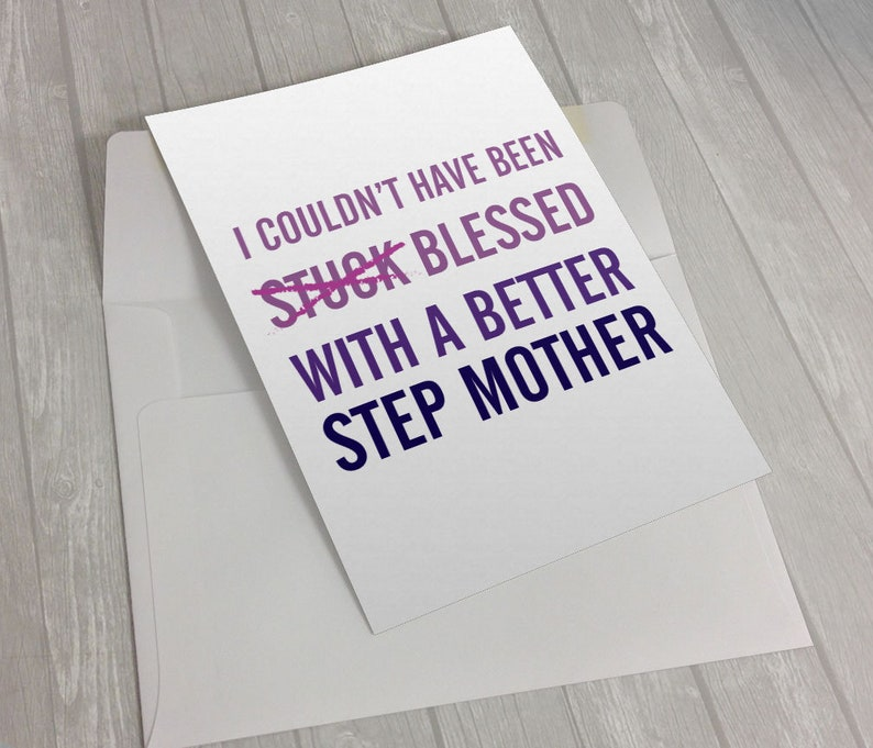 Funny Step Mom Card - Funny Card - Step-Mom Card - Sarcastic Card - Witty  Cards - Joke Card - Mothers Day Card - Funny Card Step Mom