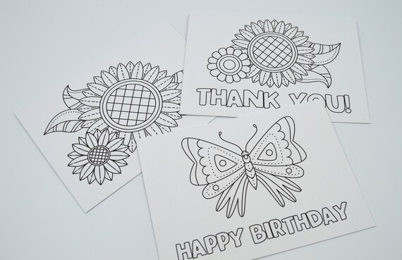 Color Your Own Greeting Cards Set Of 3 Blank Interiors Etsy