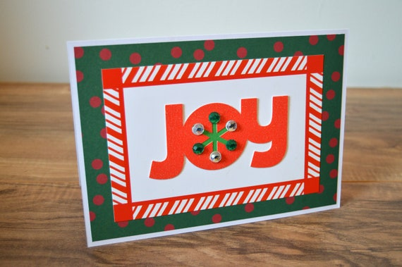 Christmas Greeting Cards Handmade.Joy Christmas Card Handmade Greeting Card Holiday Joyful Festive Blank Interior Candy Cane Stripes Red And Green Holly Jolly