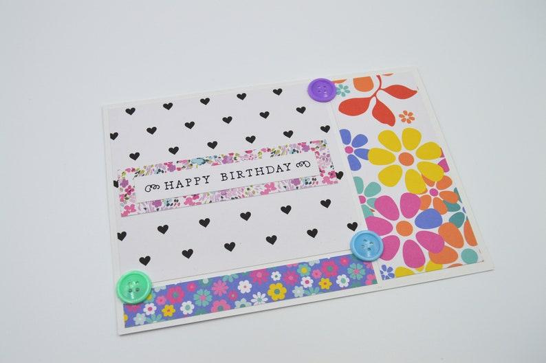 5da4d3ed988 Colorful Birthday Card Blank Interior Flower Birthday