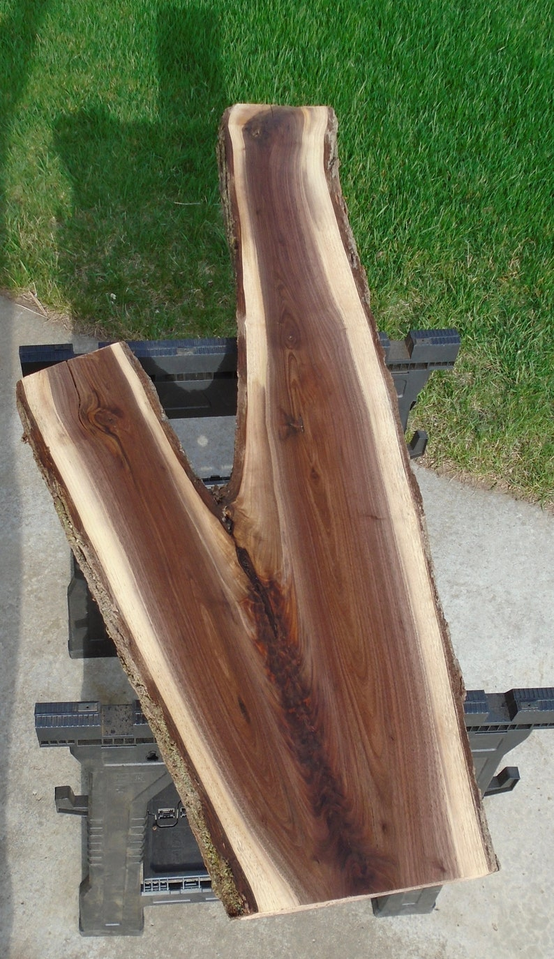 Black Walnut Live Edge Lumber Slab Table Craft Art Bar 52 Long 13 to 20 Wide 2 116 Thick Planed Sanded