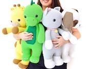 The Big Toys Bundle - Four Crochet Patterns in English - Dinosaur, Giraffe, Dog, Cat - Amigurumi - Instant Pdf Download