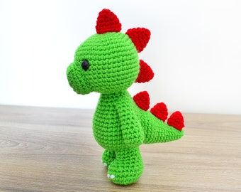 """CROCHET PATTERN in English - Tim the Lovely Dinosaur - 9""""/23 cm. tall - Animal Amigurumi Toy - Instant PDF Download"""