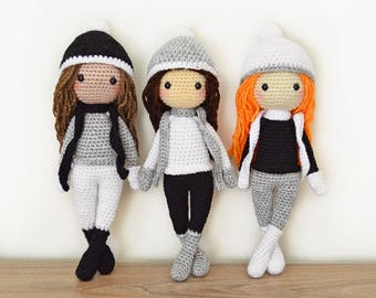 CROCHET PATTERN in English - Sarah the Winter Doll - 11 in./28 cm. tall - Amigurumi Doll Crochet Toy - Instant PDF Download