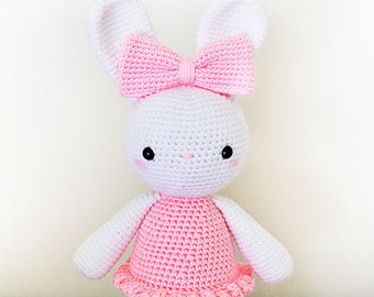"""CROCHET PATTERN in English - Laurie the Ballerina Bunny - 14""""/35 cm. tall - Amigurumi Animal - Ballet Rabbit - Toy - Instant PDF Download"""