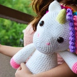 "CROCHET PATTERN in English and Spanish - Mimi the Friendly Unicorn - 15""/38 cm. tall - Animal Amigurumi - Kids Toy - Instant PDF Download"