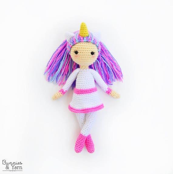 Patrón de Crochet en Inglés Linda la Muñeca Unicornio | Etsy