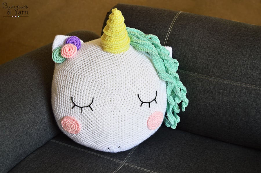Patrón de Crochet - Almohada Unicornio - Cojín Crochet - 36 cm./14 ...