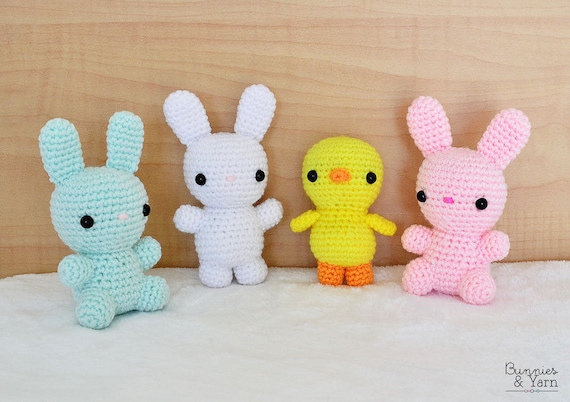 Two Crochet Patterns Bunniesrabbit And Baby Chicken 4 Etsy