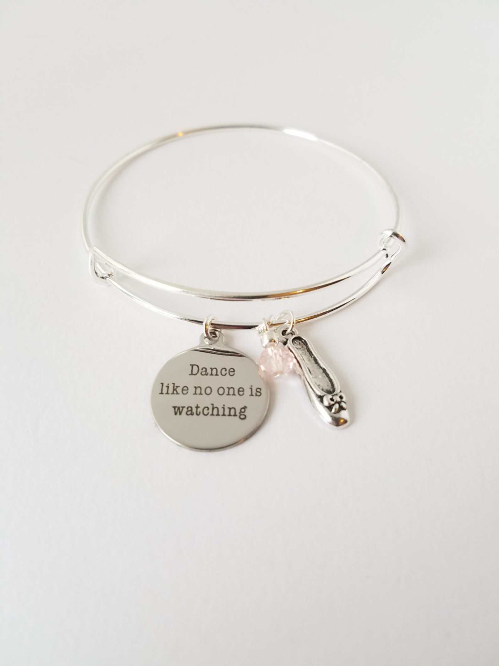 dance like no one is watching - inspirational charm with ballet shoe and colored glass bead - love- dream - hope