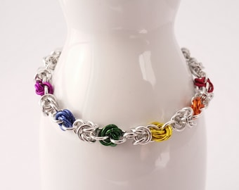 Rainbow - pride - love - unity - rainbow mobius chain maille bracelet made from lightweight anodized aluminum - LGBT