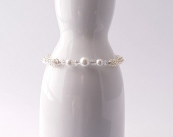 Swarovski crystal and white pearl and full persian chain maille bracelet
