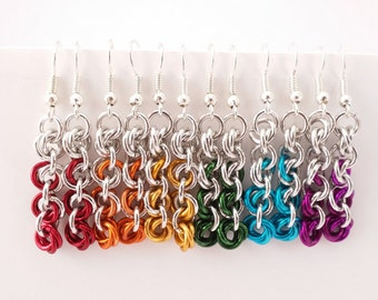 Ombre mobius chain maille earrings in lightweight anodized aluminum - 18 color options