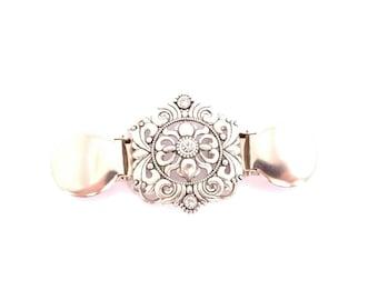 Sweater clip - dress clip - Carly clip - cinch clip - dress accessory - silver color SKU 1