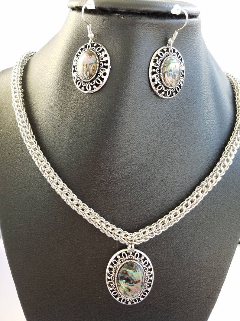 rodium color full persian weave chainmaille necklace matching earrings Abalone shell inlay