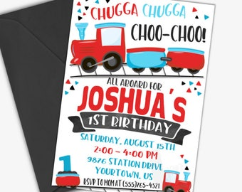 Choo Choo Train Birthday Invitation   Train Birthday Invitation   Printable Invitation   Digital Invite   Custom Invite   Design 18011