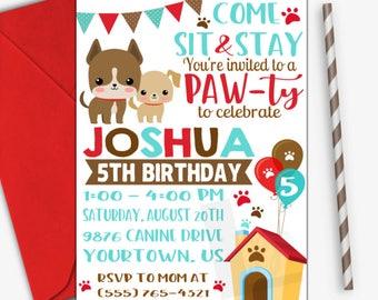 Puppy Birthday Invitation | Puppy Party Invitation | Puppy Invitation | Dog Invitation | Digital Invitation | Design 17053