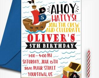 Pirate Birthday Invitation | Pirate Birthday Party | Pirate Invitation |  Pirate Ship | Pirate Party | Digital Invitation |  Design 17045