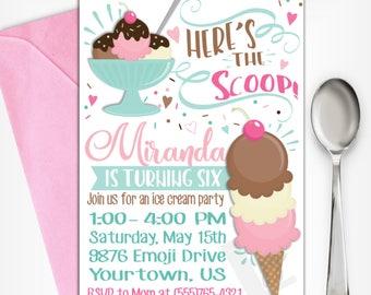 Ice Cream Party Invitation | Ice Cream Birthday Invitation | Ice Cream Invitation | Ice Cream Party | Digital Invitation | Design 17033