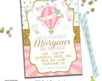 Hot Air Balloon Birthday Invitation   Hot Air Balloon Party Invitation    Mint Pink & Gold Invitation   Digital Print-at-Home   Design 17015