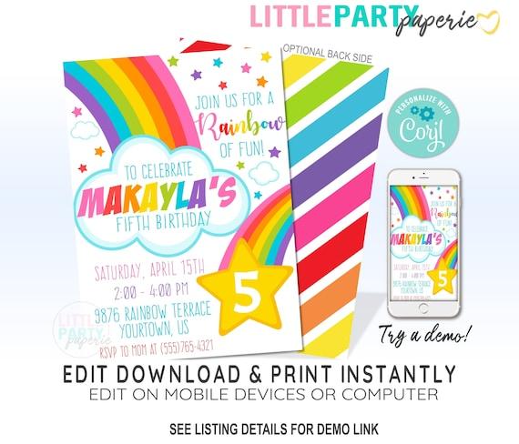 RAINBOW Birthday Party Invitation, Rainbow Party ...