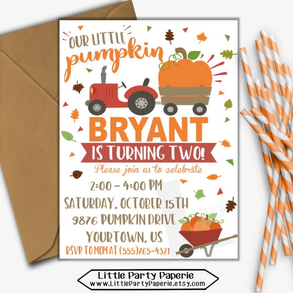 pumpkin birthday invitation pumpkin invitation tractor