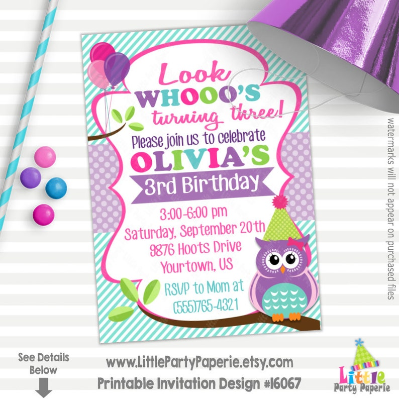 Owl Birthday Invitation Printable