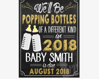 New Year's Pregnancy Announcement | New Years Pregnancy | Pregnancy Reveal | Popping Bottles | Printable Chalkboard Sign | Design PA16008
