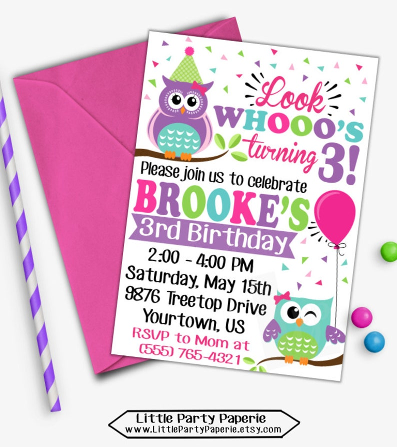Owl Birthday Invitation Girl Owl Invitation Owl Invitation Etsy