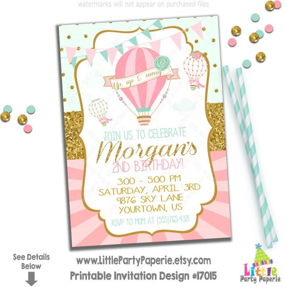 Hot Air Balloon Birthday Invitation Party