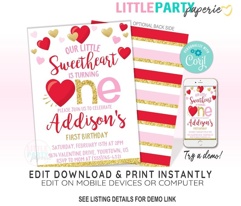 Little Sweetheart Invitation Design 20004C EDITABLE Valentine/'s 1st Birthday Invitation Template First Birthday Invitation,CORJL Template