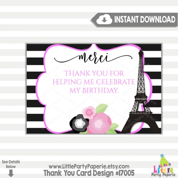 Eiffel Tower Thank You Card  Paris Thank You Cards  Matching Birthday Party Thank You Card  Corjl Card  Editable Instant Download 002