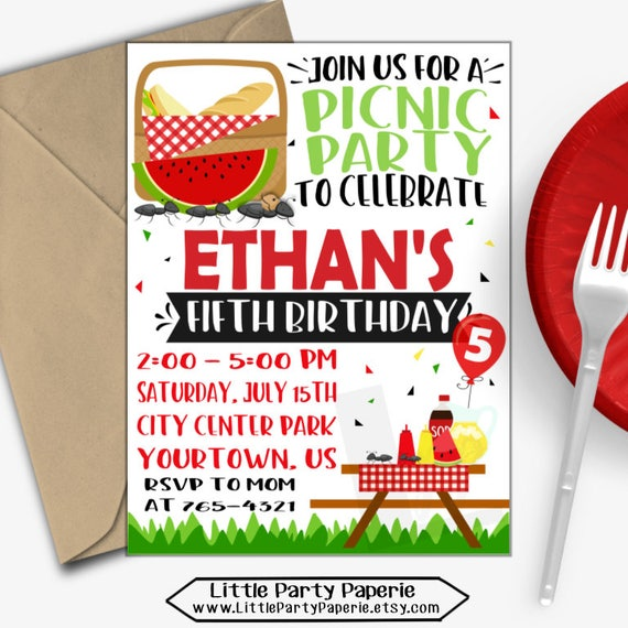 picnic birthday invitation picnic party invitation summer