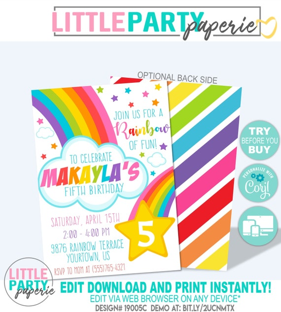 RAINBOW Birthday Party Invitation Rainbow Template