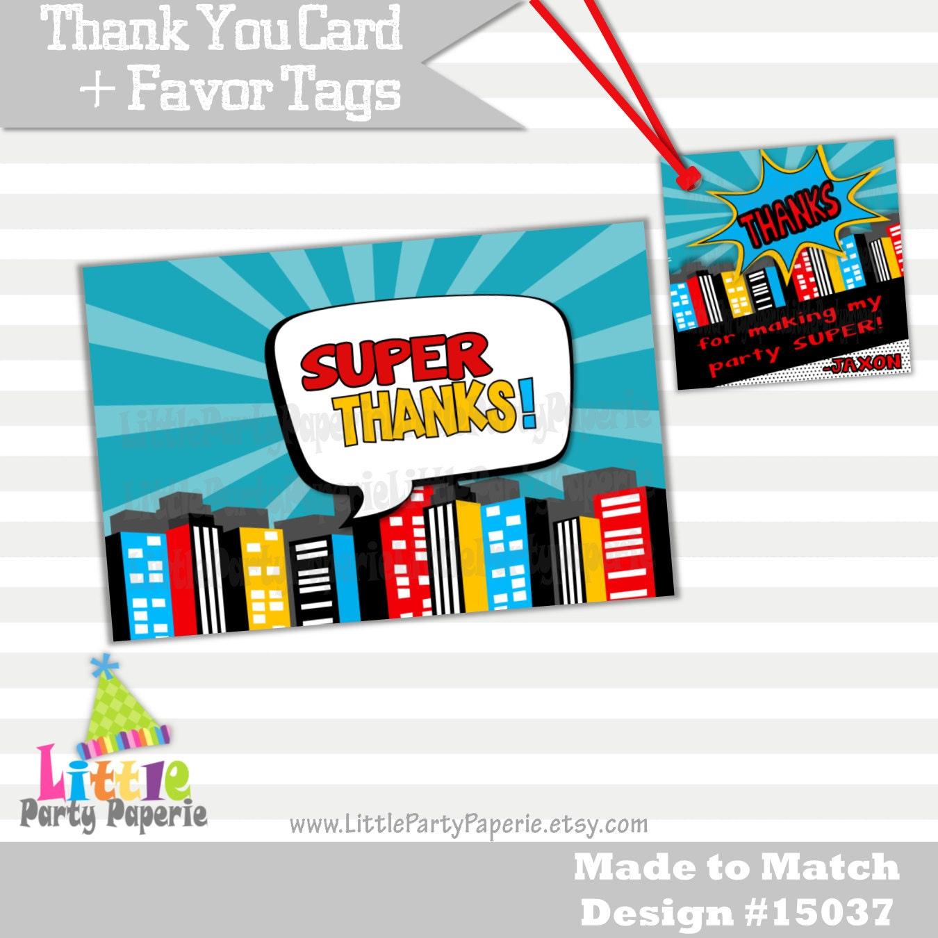 Super héroe gracias tarjetas y Tags a Favor Tarjetas | Etsy