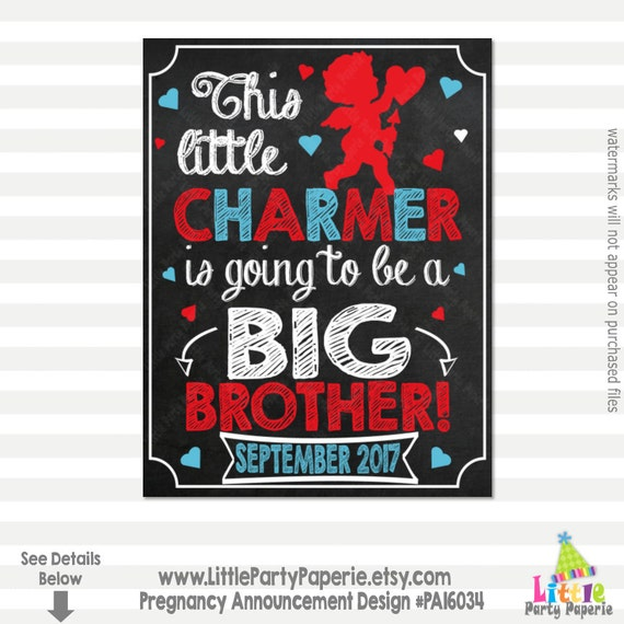 Valentines Day Pregnancy Announcement Big Brother Little Etsy