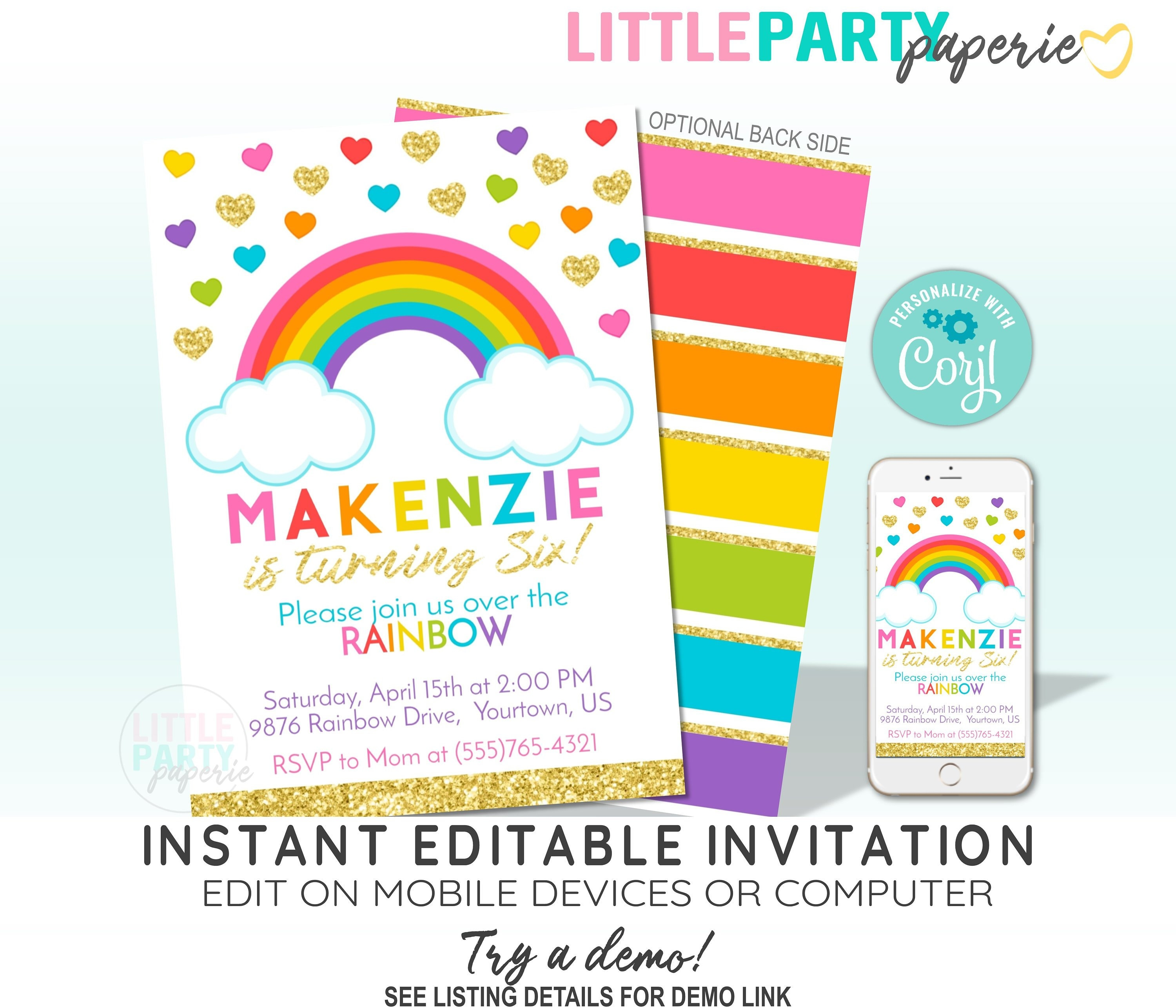 EDITABLE Rainbow Birthday Invitation Template With Gold Glitter And Party Printables CORJL Design 19016C
