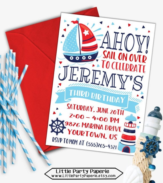 Nautical Birthday Invitation Sail Boat