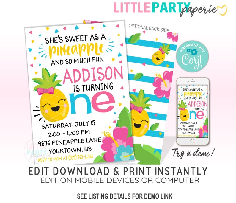 EDITABLE Pineapple 1st Birthday Invitation Template, Tropical Pineapple 1st  Birthday Luau Party Invitation, CORJL Template, Design 19017C