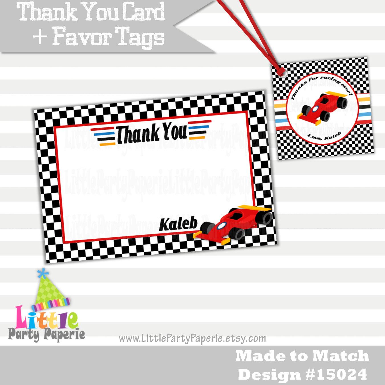 Coche de carreras gracias tarjetas y Tags a Favor Coche de | Etsy