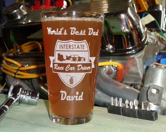 Father's Day Pint Glass, Worlds Best Dad Pint Glass, Racing Pint Glass, Personalized Pint Glass, Dad Gift, Race Car Driver Pint Glass