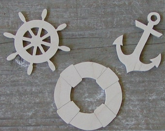 NAUTICAL Wood Cut Outs 7 Different Designs Cutouts Unpainted