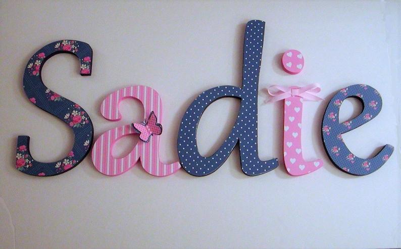 Holz-Buchstaben-Kinderzimmer Dekor Marine-Blau und Rosa | Etsy