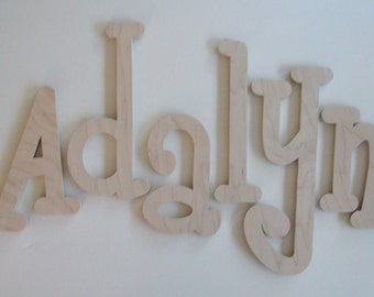 """Unfinished Wooden Letters,4"""",5"""",6"""",7"""" 8"""",9"""" Unpainted Wooden Letters, Wood Letters, Wall Letters- MANY SIZES AVAILABLE"""