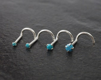 Round Aqua Blue CZ Nose Stud with 22g Nostril Screw 925 Sterling Silver March
