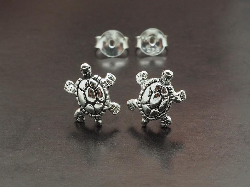 Simple Plain Ear Stud Minimalist Earrings Turtle Earrings Animal Ear Stud Small Silver Earrings Pair Tiny Cartilage Ear Stud