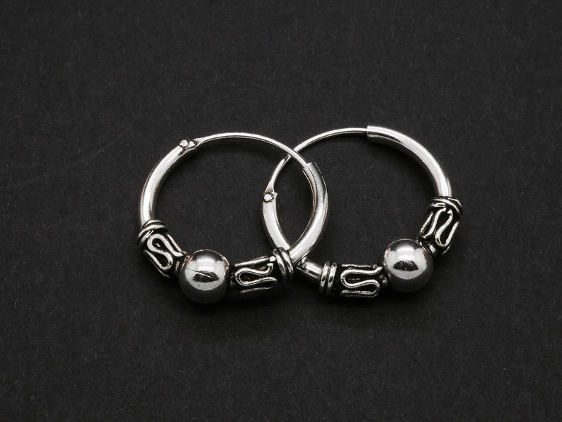 925 Sterling Silver 18mm Bali Hoop Sleeper Earrings Design 8 Pair